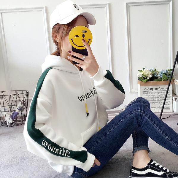VK旗艦店 韓國學院風寬鬆時尚套頭連帽單品長袖上衣