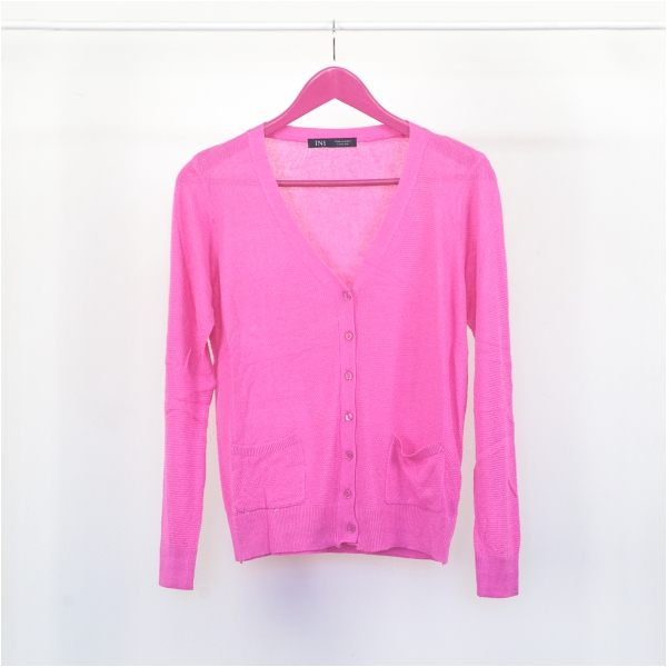 【INI】完美隨搭、清新柔感開襟外套.桃紅色
