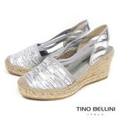 Tino Bellini西班牙進口皺摺造型楔型涼鞋_ 銀 A73035 歐洲進口款