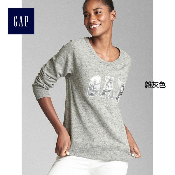 Gap女裝 Logo系列柔軟毛圈布金屬感套頭長袖運動衫 223574-雜灰色