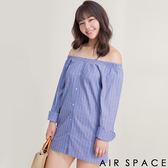 中大尺碼襯衫 兩穿排釦一字領格紋襯衫1色 -AIR SPACE
