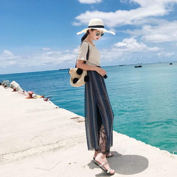 梨卡★現貨 - 沙灘度假海邊寬鬆圖騰印花雪紡蕾絲長褲沙灘褲C6335