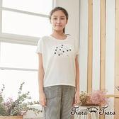 【Tiara Tiara】百貨同步 貓咪弄毛球棉質短袖上衣(白/藍)
