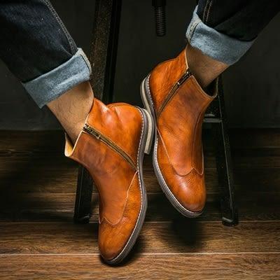 真皮中筒靴-側拉鍊復古英倫切爾西休閒男靴子2色73kk25[巴黎精品]