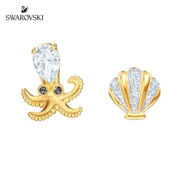 施華洛世奇 Ocean Octopus 多色章魚貝殼珍珠穿孔耳環