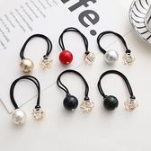 【NiNi Me】 韓系髮飾 氣質甜美閃亮水鑽大珍珠鏤空金屬髮束  髮束H9227