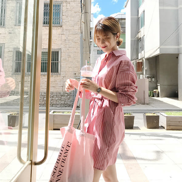 Qmigirl 方領條紋寬鬆棉麻文襯衫裙 連身裙 洋裝【T1312】
