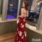 藍色巴黎 ★ 性感露背交叉花朵連身裙 連身長裙 沙灘裙 度假洋裝《2色 : M / L》【28746】