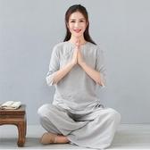 修禪服女套裝春夏打坐棉麻中式居士服上衣禪意中國風唐裝復古茶服 韓國時尚週