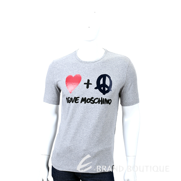 LOVE MOSCHINO T-SHIRT 愛心和平標誌短袖上衣(灰色) 1530321-06