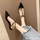 羅馬鞋 水鉆網紅涼鞋女新款超火ins潮 包頭平底百搭一字扣尖頭羅馬鞋 城市科技