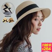 MIUSTAR 黑緞帶百褶大結草帽(共2色)【NH0145】預購