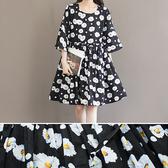 短袖洋裝 碎花 抽繩 收腰 清新 短袖洋裝 連身裙【BS1669】 BOBI  07/27