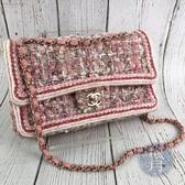 BRAND楓月 CHANEL 香奈兒 27開 經典款 紅粉白毛呢編織 淡金釦 COCO25 肩背包 側背包