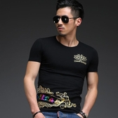 男T恤短袖 韓版休閒 潮流上衣 中國風春夏季修身時尚燙金短袖印花T恤wx3320