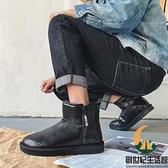 爆裂紋黑色雪地靴男加厚保暖冬季棉靴防水防滑加絨抗寒棉鞋【創世紀生活館】