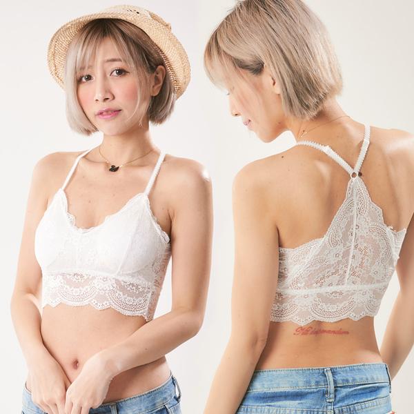 韓版時尚美背蕾絲內衣(白)