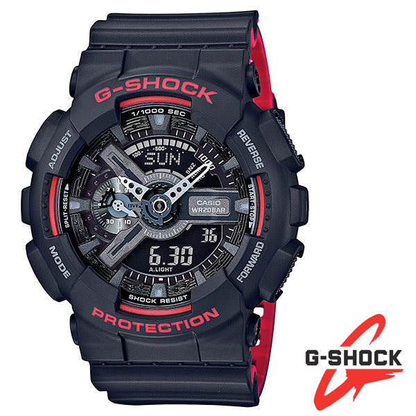 G-SHOCK 黑紅反黑指針數位雙顯多功能膠帶電子錶 GA-110HR-1A 防水防撞 公司貨 | 名人鐘錶高雄門市