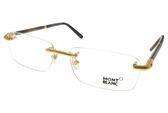 MONTBLANC 光學眼鏡 MB492 C030 (金-黑) 經典鋼筆系列無框款 #金橘眼鏡