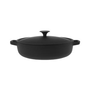 HOLA 鑄鐵黑琺瑯低身湯鍋28cm