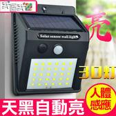 太陽能LED 【0 電費】30 顆LED 燈戶外庭院燈人體感應人走即滅家用緊急照明室內外路燈