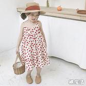 滿印愛心雪紡紗細肩帶連衣裙 洋裝 橘魔法 Baby magic 現貨 女童 吊帶裙