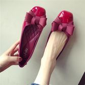 正韓紅色漆皮平跟方頭單鞋女蝴蝶結平底鞋子淺口瓢鞋