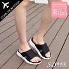 韓國空運 魔鬼氈設計 簡約素面造型 4cm厚底涼拖鞋【F713260】版型正常/SD韓美鞋