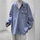 設計感立領潮流ins襯衫男韓版寬鬆純色長袖工裝襯衣(快速出貨)
