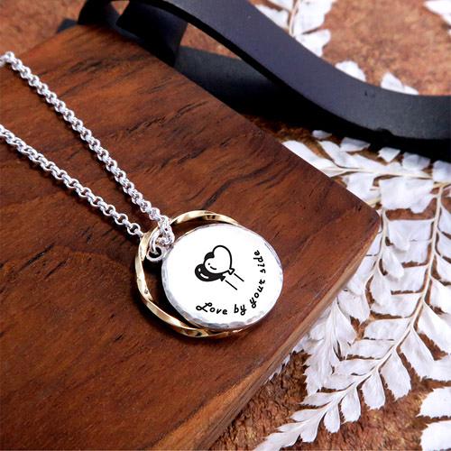 手感鍛紋系列 女款圓形刻字項鍊+垂掛戒指 單面刻字 925純銀客製化項鍊