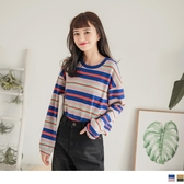 《AB8861-》繽紛感條紋配色高含棉針織上衣 OB嚴選