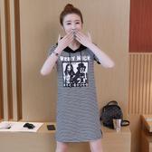 韓版長版T連身裙S-3XL實拍9364夏款新款韓版連衣裙女中長款條紋t恤女大碼柏1F133A依品國際