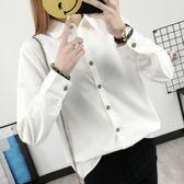 襯衫 日韓秋裝元寶領白色襯衫女長袖純棉簡約娃娃領打底襯衣學生 巴黎時尚