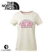 【The North Face 女 FlashDry排汗短袖T恤《米》】3CIM/短袖上衣/運動短袖/T恤