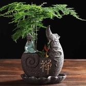 花盆 小和尚黑紫砂菩薩花盆中號帶托盤創意個性古典中國風多肉植物文竹 莫妮卡小屋