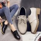 牛津鞋 春季新款復古英倫系帶圓頭小皮鞋中跟單鞋粗跟牛津鞋大碼女鞋 阿薩布魯