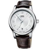 ORIS 豪利時 Classic Date 都會時尚機械手錶-銀x咖啡/36mm 0173375784031-0751810