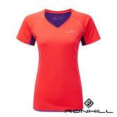 Ronhill 英國 女V領短袖反光超涼排汗T恤 珊瑚紅/紫 001122 戶外│路跑│馬拉松