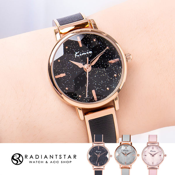 韓國KIMIO銀河星空花玻璃切面金屬鍊帶手鐲手錶【WKI6300】璀璨之星☆