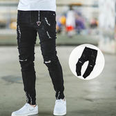 長褲 抓破造型三角吊飾不收邊褲腳窄管牛仔褲【NB0231J】