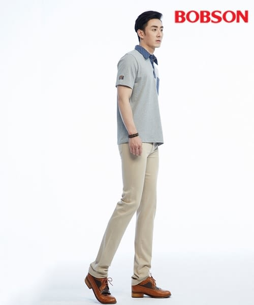 BOBSON 男款高腰膠原蛋白直筒褲(1804-75)