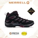 【MERRELL 男 MOAB 2 MID GORE-TEX 中筒靴《黑/酒紅》】ML48993/透氣/耐磨/防水/登山