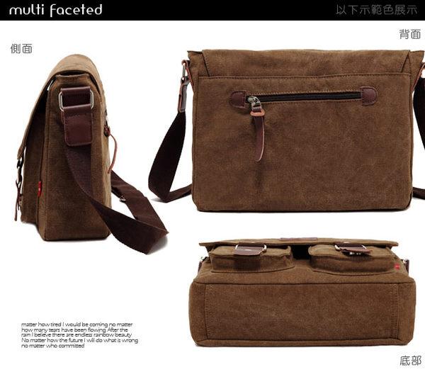 DF BAGSCHOOL - 日系學院風雙口袋帆布側背包