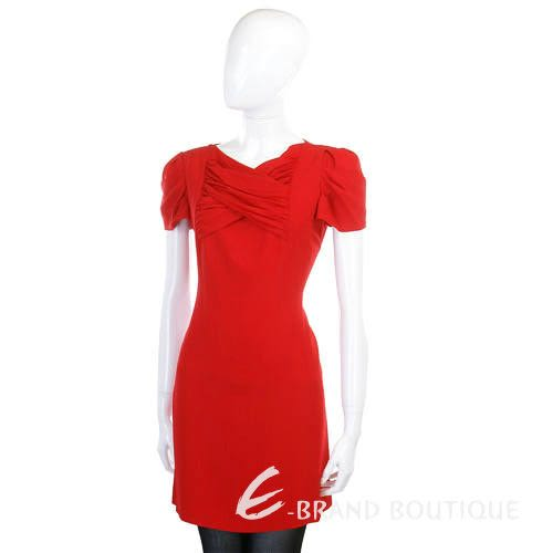 MOSCHINO 紅色皺褶造型短袖洋裝 1140293-54