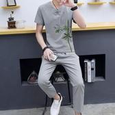 夏季中國風 亞麻套裝 男士棉麻唐裝 漢服青年 古風短袖長褲古裝兩件套 超值價