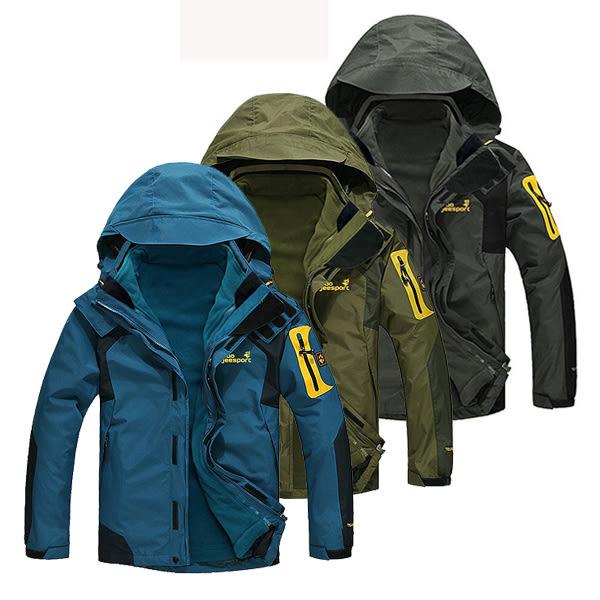 【美國熊】戶外旅遊 滑雪 登山 防風 保暖 抗汙 防撥水 機能型兩件式加厚風衣 衝鋒衣 [BOJ-53]