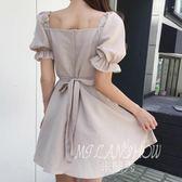 ✎﹏₯㎕ 米蘭shoe  一字領連衣裙夏季新款性感露背裝燈籠袖收腰顯瘦荷葉邊短裙