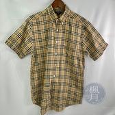 BRAND楓月 BURBERRY 巴寶莉 經典格紋 襯衫 短袖 卡其 衣服 服飾 上衣 #M