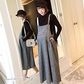 孕婦裝 MIMI別走【P31373】甜美艾莉 兩件式 格子口袋吊帶裙+內搭衣 洋裝 套裝