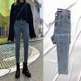 窄管褲 高腰牛仔褲女褲子修身顯瘦顯高緊身小腳褲女士夏季薄款-Ballet朵朵